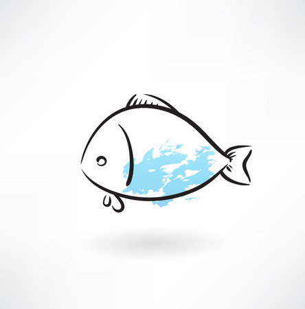 fish grunge icon Vector