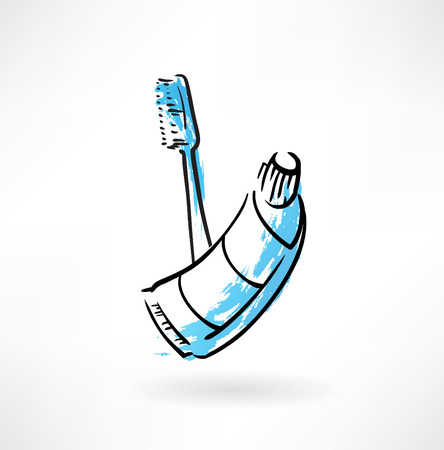 toothbrush and toothpaste grunge icon Illustration
