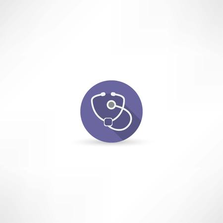 listening to heartbeat: stethoscope icon Illustration