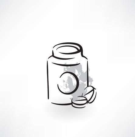 pills grunge icon Illustration