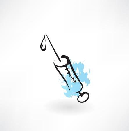 syringe inoculation: syringe grunge icon