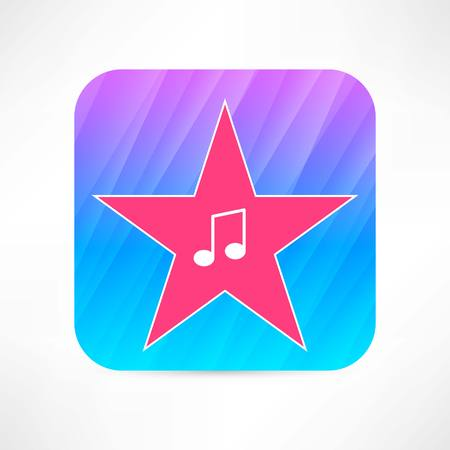 music note in the star icon Vector