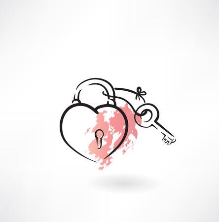 forme: clé et le coeur grunge icône