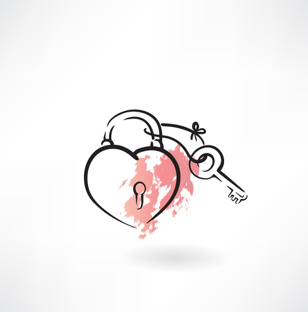 lock icon: key and heart grunge icon