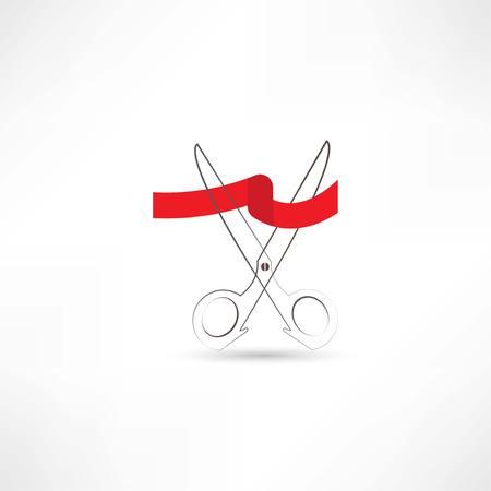 inaugural: scissors and red ribbon con