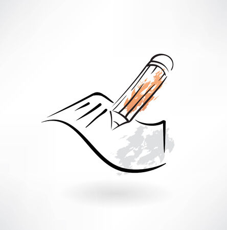 pencil and paper grunge icon Vector