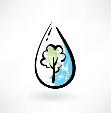 tree in the water drop grunge icon Illustration