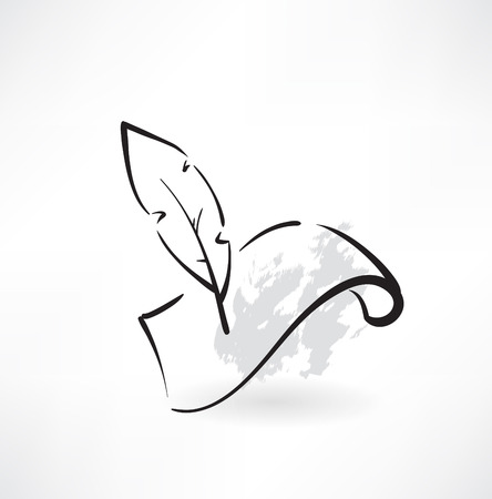 feather and paper grunge icon Illustration