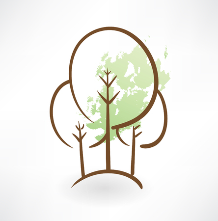 tree outline: trees grunge icon