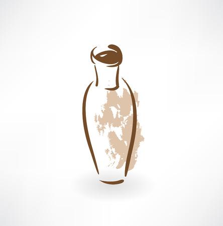 indoor garden: vase grunge icon Illustration