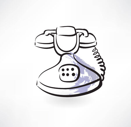 old phone: old phone grunge icon Illustration