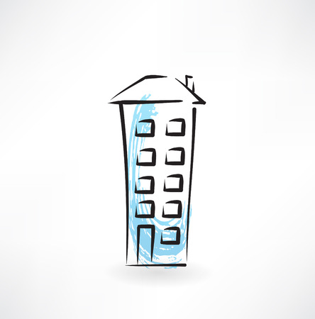office construction: multi-storey building grunge icon Illustration