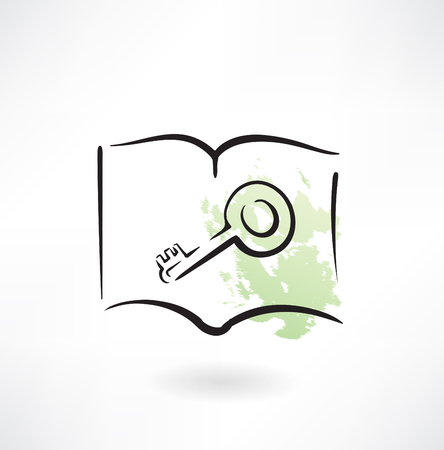 privileges: key grunge icon Illustration