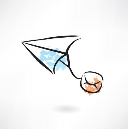 paper airplane grunge icon Illustration