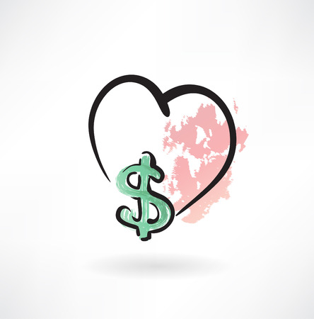 proceeds: love dollar grunge icon Illustration