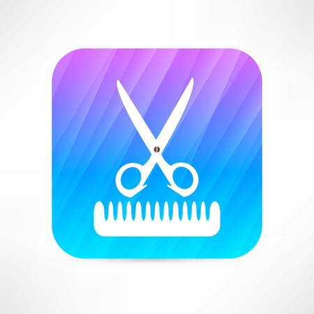 trims: scissors and comb icon Illustration