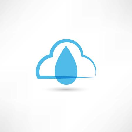 damp: rainy cloud icon Illustration
