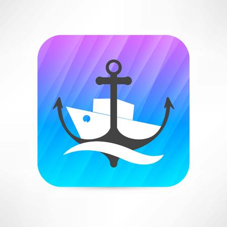 steamer and anchor icon 向量圖像
