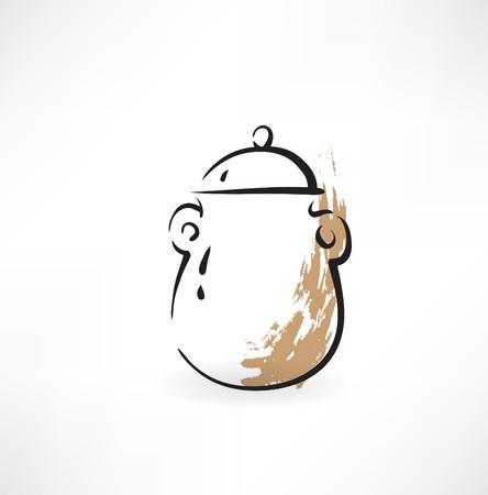 ceramic: cer�mica icono olla grunge Vectores