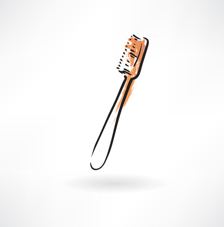 preening: toothbrush grunge icon Illustration