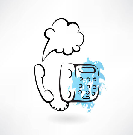 receiver: telephone grunge icon Illustration
