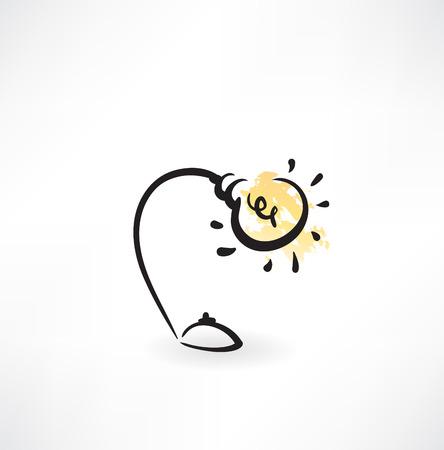 light bulb grunge icon
