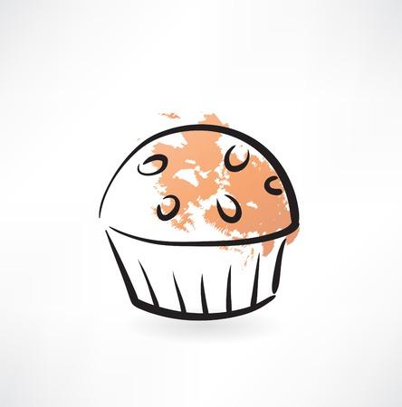 blueberry muffin: muffin grunge icon