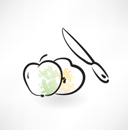 fruited: piece of an apple grunge icon Illustration