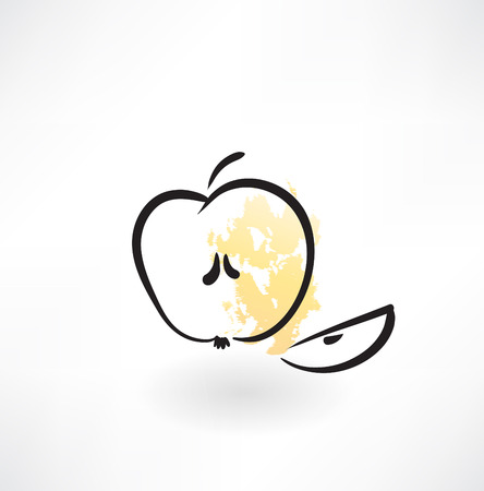 apple slice: piece of an apple grunge icon Illustration