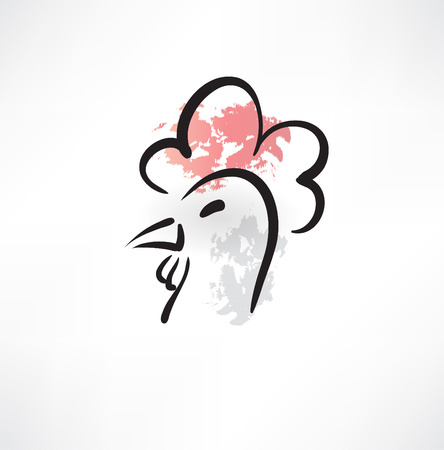 chicken head grunge icon Vector