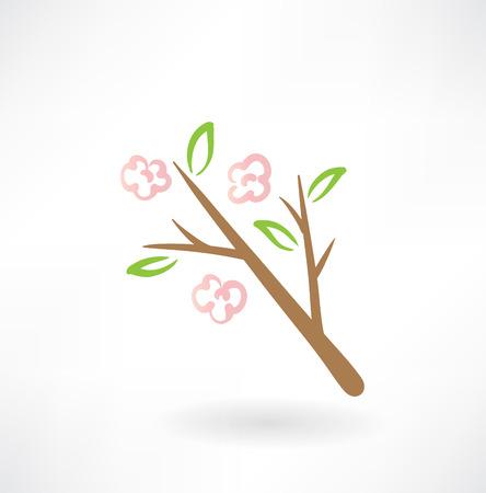nature pattern: flower tree grunge icon Illustration