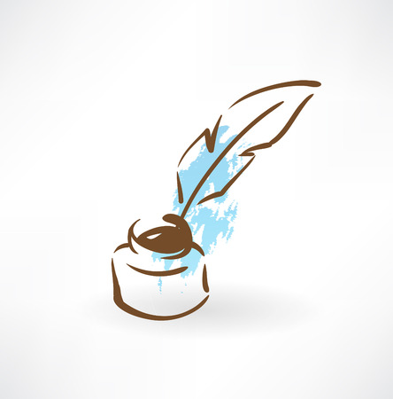 feather and inkwell grunge icon Illustration