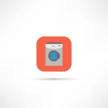 wet shirt: washing machine icon Illustration