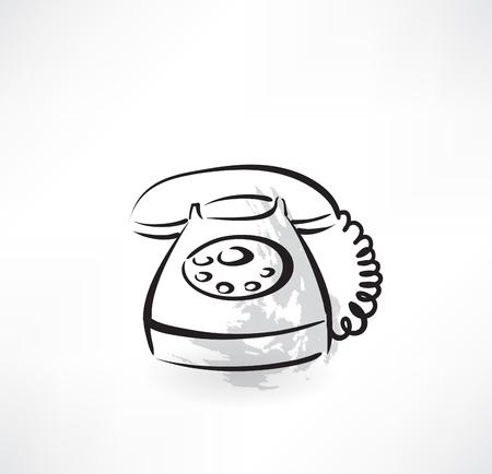 old phone: old phone grunge icon Illustration