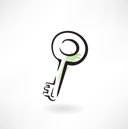 antique key: key grunge icon Illustration