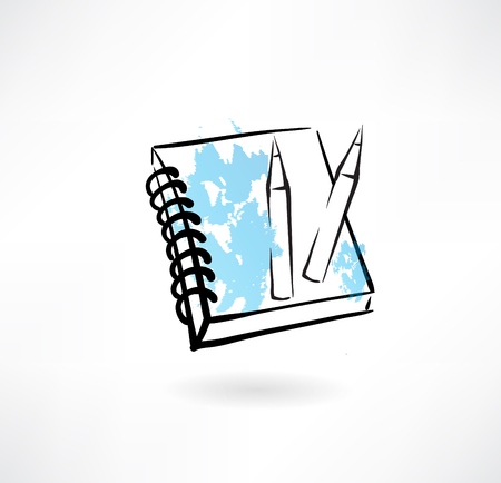 business symbol: pencils and notebook grunge icon