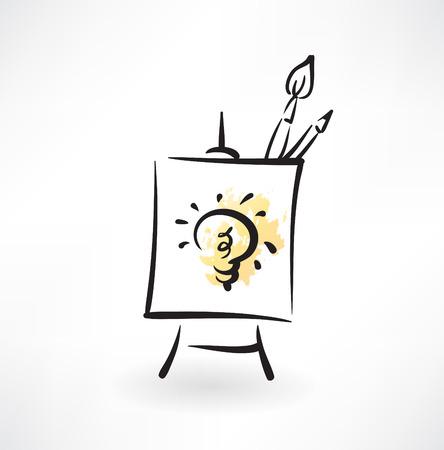 art show: paint idea grunge icon Illustration