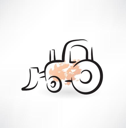 old tractor: trekker grunge pictogram Stock Illustratie