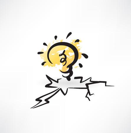 energysaving: light bulb grunge icon