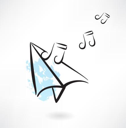 sheet music: paper airplane music note grunge icon Illustration