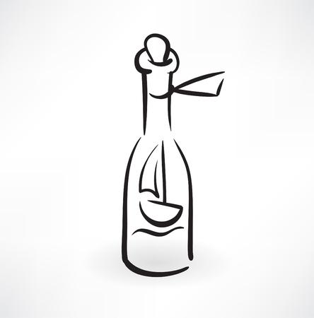 rowboat: barco en el icono grunge botella
