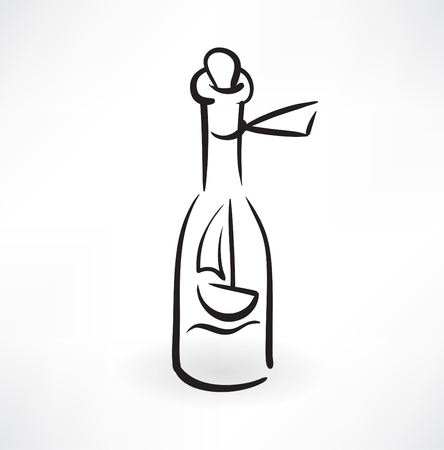 captain boat: ship in the bottle grunge icon