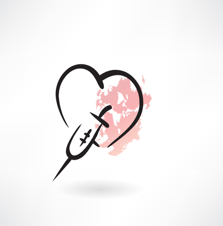 treatment of heart grunge icon Vector