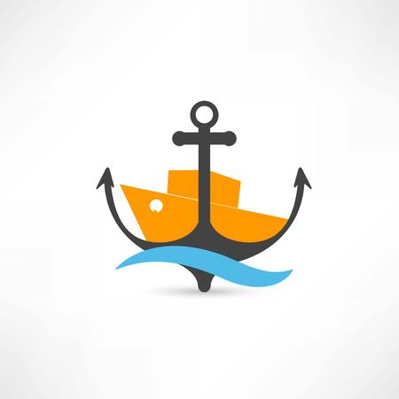 steamer and anchor icon Иллюстрация