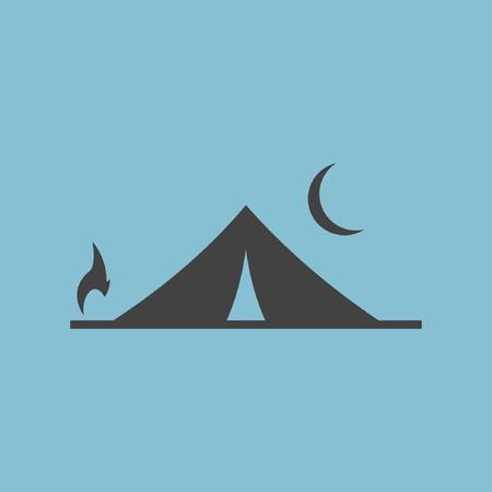 Tent en kampvuur icoon