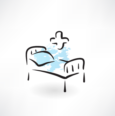 medical equipment: medical bed grunge icon