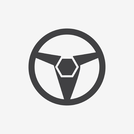 chauffeur: Car, vehicle or automobile steering wheel icon or symbol- vector graphic.