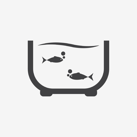 gold fish bowl: Vector illustration of an aquarium with colorful fishes