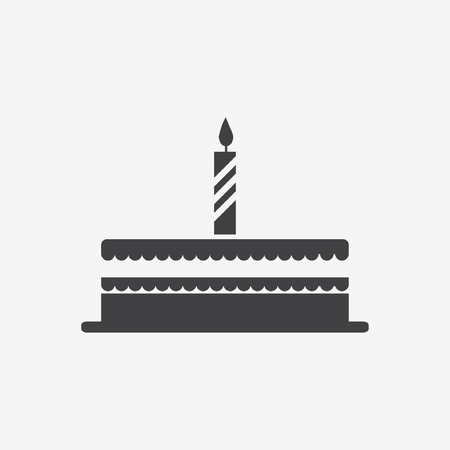 cake with a candle icon Vector