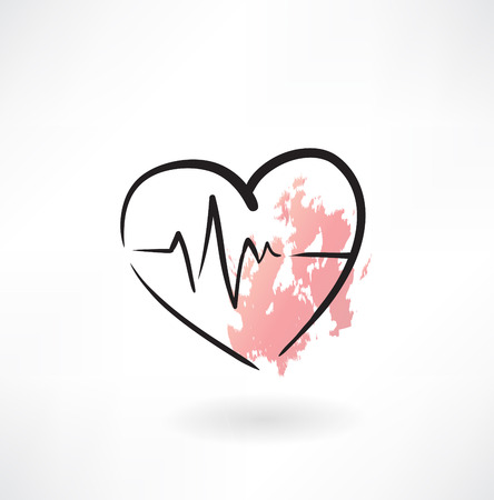 heart monitor: cardiology heart grunge icon Illustration